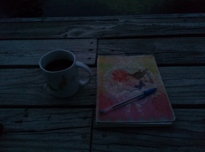 picture journal and coffee on dock