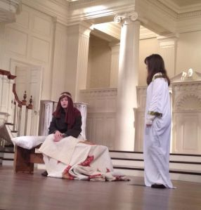 The angel visits Joseph during the Christmas play at Second Presbyterian Church.