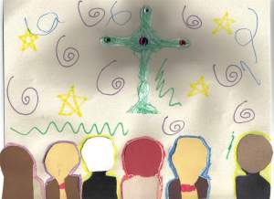 """Children at Church""--mixed media collage by Grace, 1st grade"